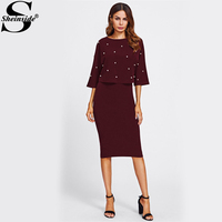 Sheinside Pearl Beading Embellished Front Top Pencil Skirt Set 2017 Fashion Burgundy Round Neck 3 4