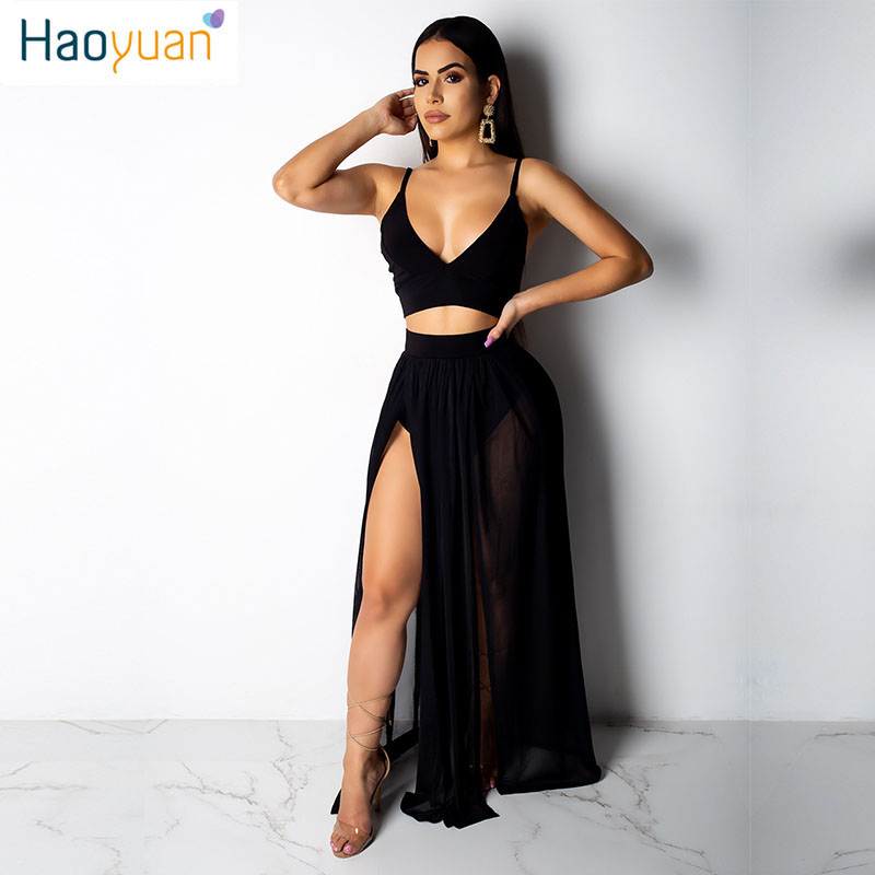 HAOYUAN Deep-V Sexy Backless Two Piece Set Spaghetti Strap Crop Tops+High Split Skirt Suit 2 Pieces Summer Womens Club Outfits