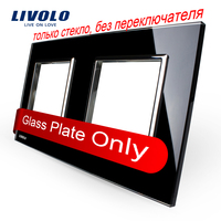 Free Shipping Livolo Luxury Black Pearl Crystal Glass 80mm 80mm EU Standard Double Glass Panel For