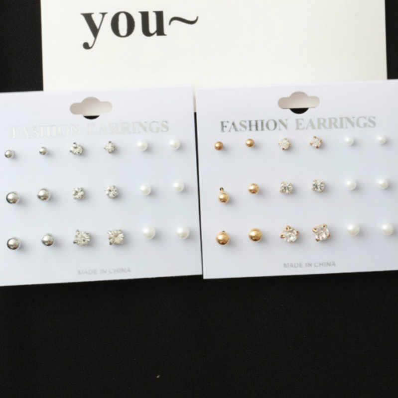 RONGBIN חדש 9 זוגות\חבילה פירסינג עגילי פנינת גביש צבע זהב 2016 עגילי אופנה לנשים Bijoux Brincos תכשיטי