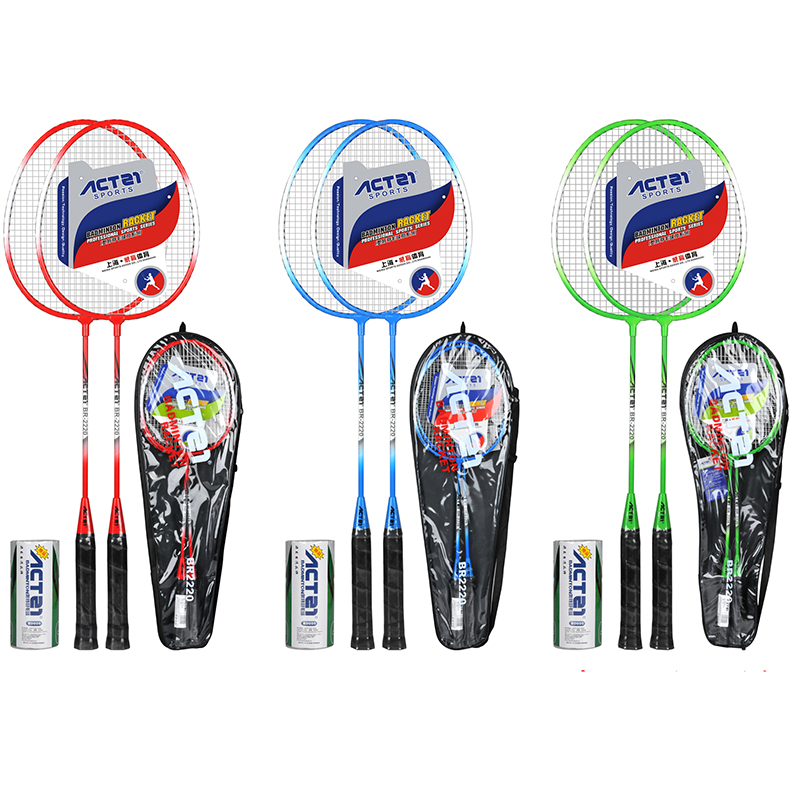 ACTEI 2220 Badminton Racket With Bag Ferroalloy Raket Racquet Padel Raqueta
