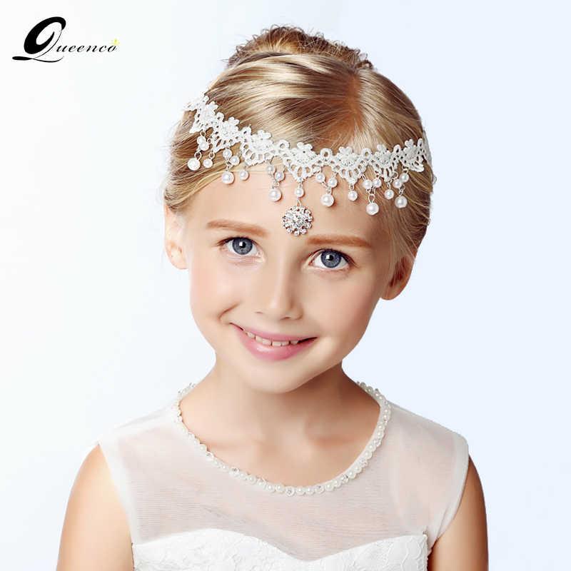 Queenco White Girl S Tiara Pearl Headbands Wedding Hair Accessories Lace Bridal Headbands Trendy Girl Prestige Simple Headpiece
