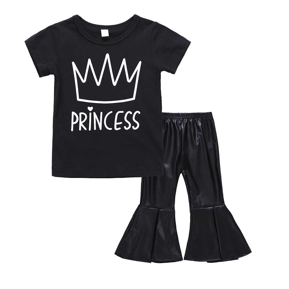New Style Summer Kids Girls Black 2Pcs Toddler Kids Baby Girl Crown T-shirt +Leather Bell-bottoms Pants Outfit Clothes