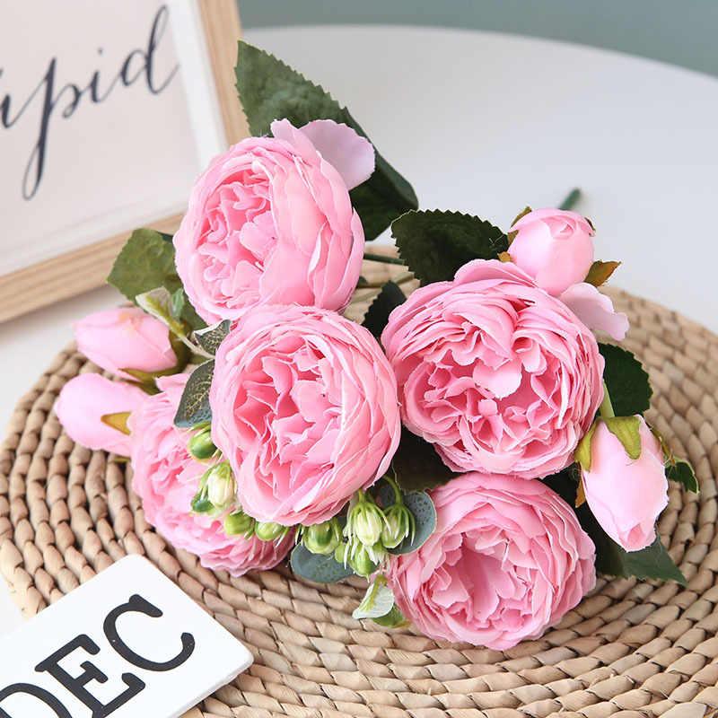5 Kepala Besar/Buket Bunga Peony Buatan Bunga Sutra Bunga Peony Buket 4 Bud Bunga Pernikahan Home Dekorasi Palsu Peony Rose bunga