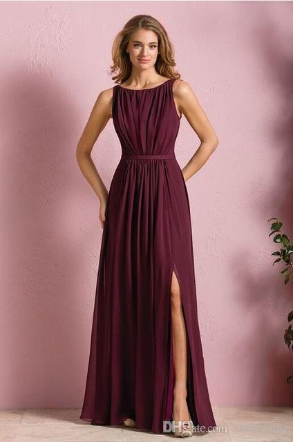2017 Elegant Wine Red Chiffon Long Beach Bridesmaid Dresses Wedding Party Dress For Women Maid Of