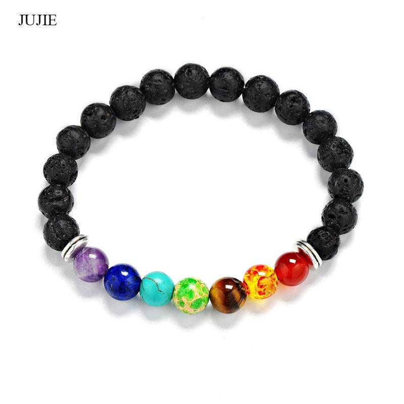 Pulseras de cuentas de equilibrio JUJIE de 8mm para mujer, pulseras de piedras de cristal brillante 2018 para Yoga curativo, envío directo de joyería