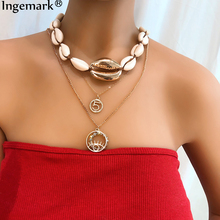 Ingemark Bohemian Natural Sea Shell Cowrie Necklace Choker Rope Chain Multi Layer Crystal Carved Coin Pendant for Women