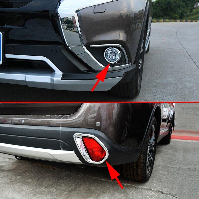 4 шт. спереди + сзади Combo для 2016-2018 Mitsubishi Outlander противотуманных фар кольцо кадр аксессуары серебро хром крышка наборы