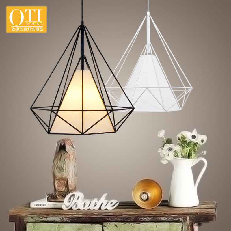 ФОТО Hedron Pendant Lamp DIY Industrial Vintage Iron Cage Hanging Light Diamond Pendant Light for Bedroom