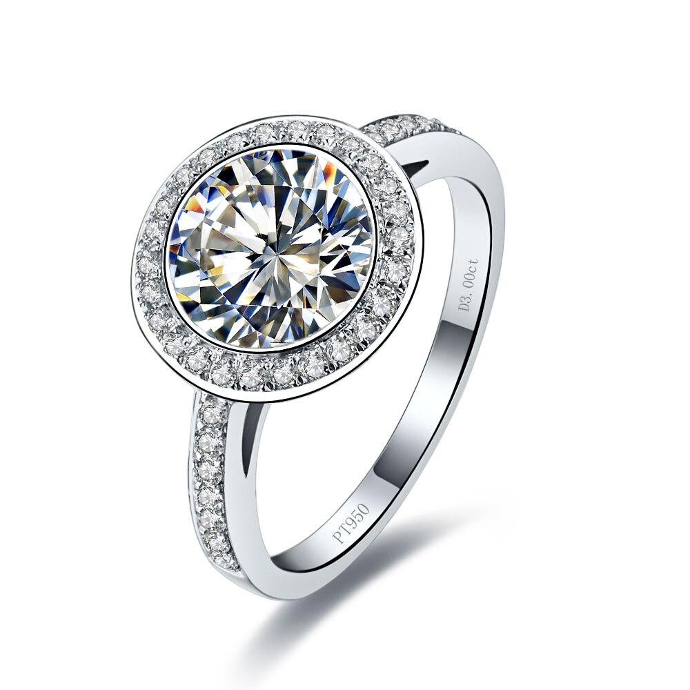 Luxury Design Pure White Gold 18K 3CT Female Female Marriage Ring ...
