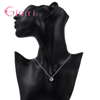 Delicate 925 Sterling Silver Jewelry With Cubic Zirconia Square Pendant Necklace Women Anniversary Lovely Gifts 4