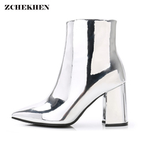 Fashion Mirror PU Party Pumps Sexy Pointed Toe Short Boots Women Silver High Heels Shoes INS
