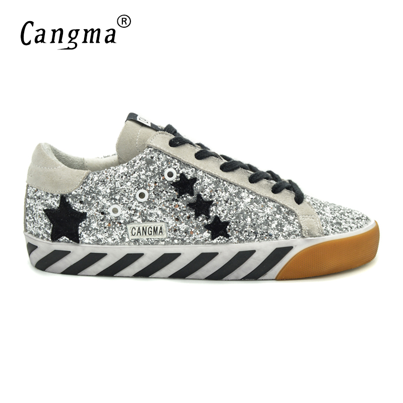 CANGMA Original Italy Deluxe Brand Men Shoes Sequin Genuine Leather Superstar Mens Casual Glitter Silver Shoes Schoenen Mannen cangma original italy deluxe brand men golden shoes women handmade silver genuine leather goose shoes scarpa stella sapato 2017