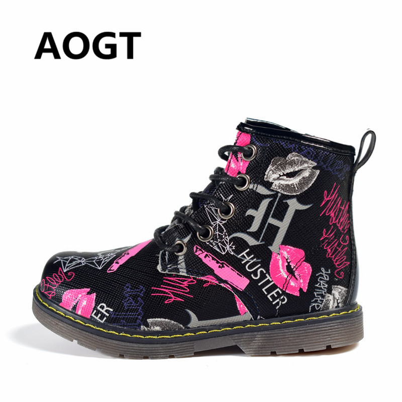 AOGT 2018 New Children Shoes Girls Boys PU Leather Waterproof Martin Boots Fashion Ankle Kids Baby Boots Brand Boy Girl Shoes 2016 new brand children casual shoes fashion pu leather kids sports shoes lace up boys girls outdoor shoes
