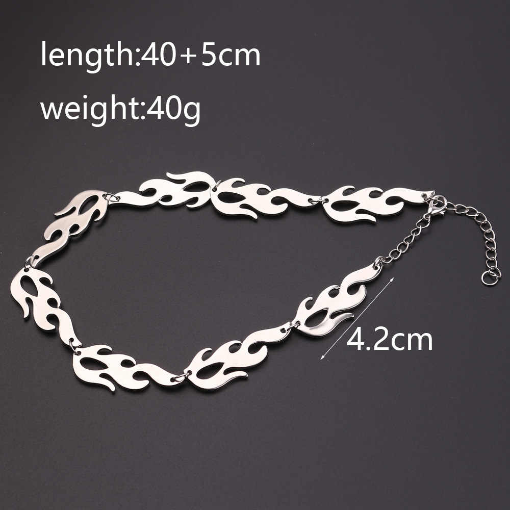 Fashion Hiphop Harajuku streetwear Flame Unisex Necklace Punk Accessory Rock Chain Choker Necklaces Men's And Women's Jewelry
