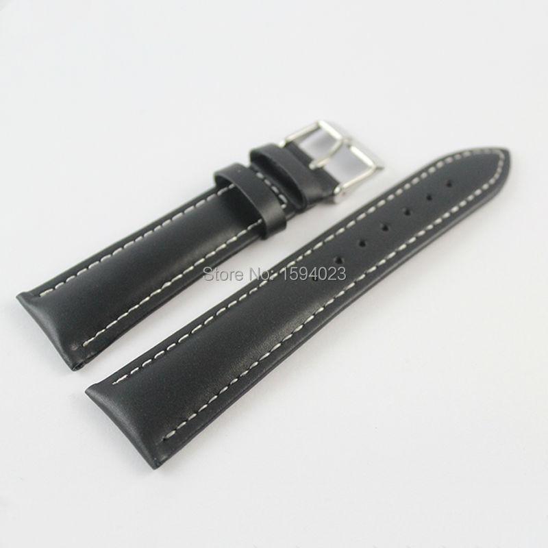 Prix pour 22mm (Buckle18mm) T039417 Haute Qualité Argent Boucle + Noir En Cuir Véritable Bracelets Montres Bracelet Livraison gratuite