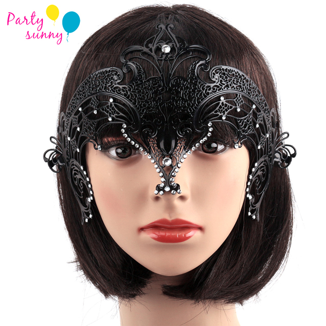 Upper Half Face Queen Black Metal Mask with Rhinestone