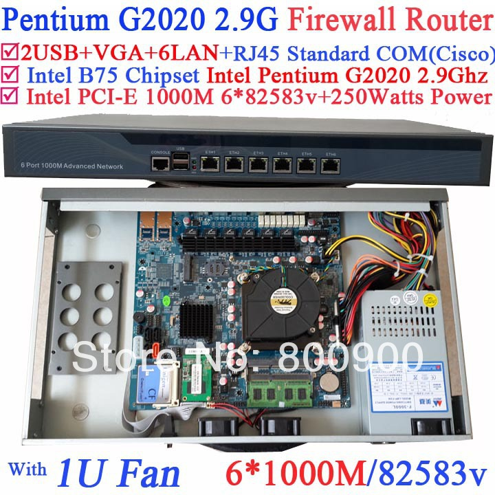 B75 1U Firewall router Barebone POS network PC with Intel Pentium G2020 2.9Ghz CPU 6*1000M 82583v Lan Wayos PFSense ROS support