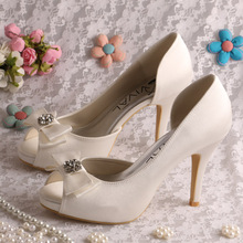Wedopus Women Wedding Bridal Shoes Satin Bow 10CM Platform High Heel Lady s Pumps