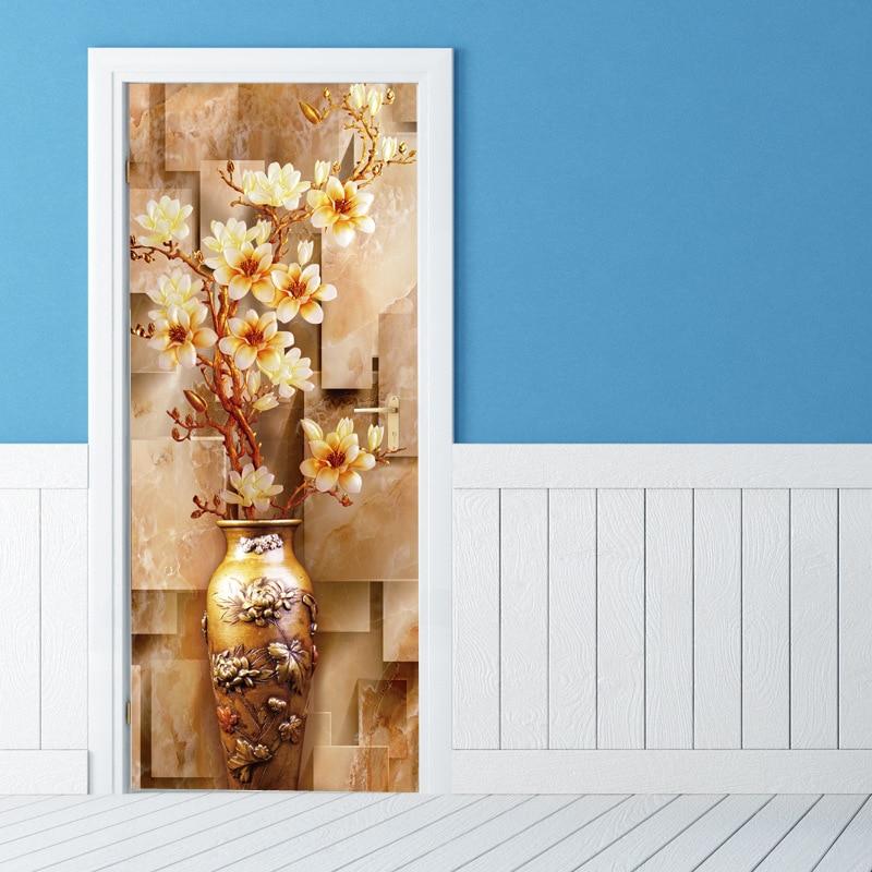 3D Plum Flower Vase Door Sticker Waterproof Wallpaper Wall Mural Wall Living Room Kids Bedroom Home Decoration