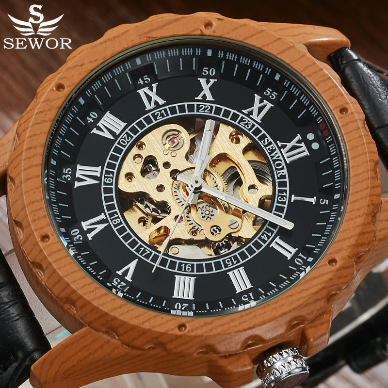 SEWOR Top Brand Luxury Skeleton Watches Automatic Self Wind Watch Men Watch Mahogany Wood Leather Watches Relogio Masculino 2017 read brand men automatic watches self wind mechanical watch silver watch relogio masculino luxury complete calendar watches