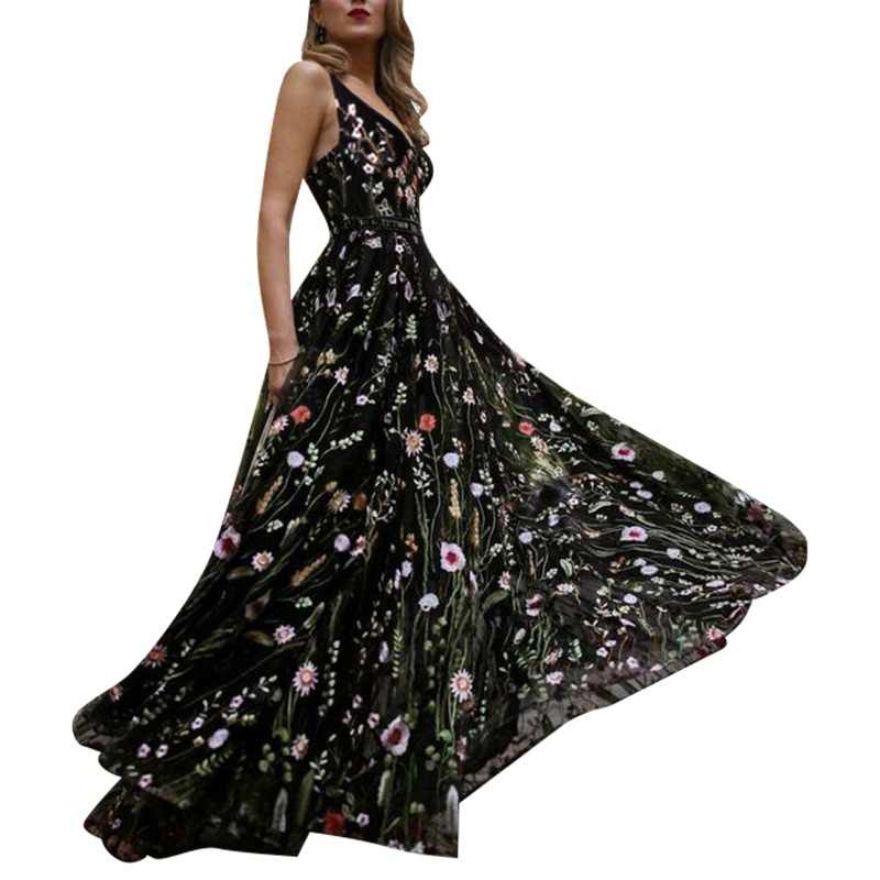 Glamaker floral Dress Glamaker Mesh vintage floral embroidery maxi dress Women summer backless  beach black dress Sexy v neck