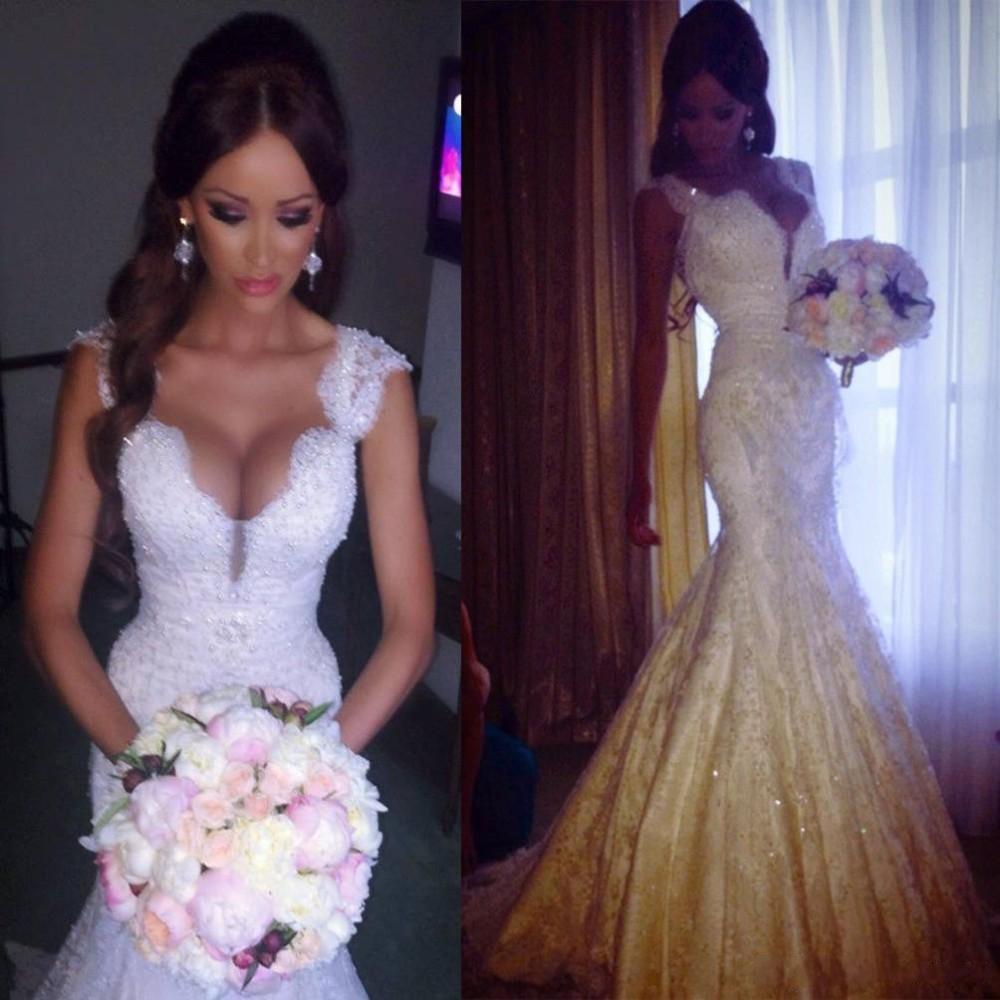 Lace Wedding Gown V Neck  Mermaid Wedding Dress Appliques Lace Bride Dress Beads Wedding Dress vestido de noiva