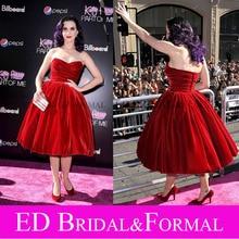 Katy Perry Samt Abendkleid Red Vintage Ballkleid Celebrity Kleider Cocktail Party Kleid Teil von Mir 3D Premiere