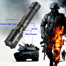 AloneFire TK700 CREE XM-L2 led flashlight USB rechargeable led torch tactical lamp lantern Self-defense police flash light