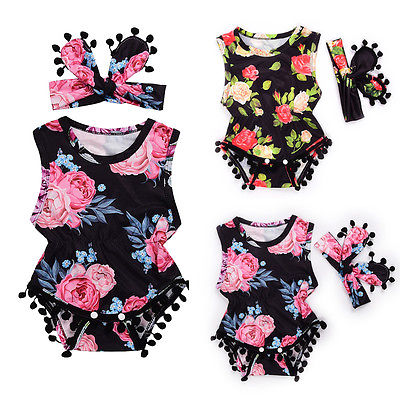 2017 Newborn Infant Baby Clothes Summer Baby Girl Sleeveless Floral Tassel Romper Jumpsuit+Headband 2pcs Set Baby Outfit pudcoco newborn baby girl clothes 2017 summer sleeveless floral romper backless jumpsuit sunsuit children clothes