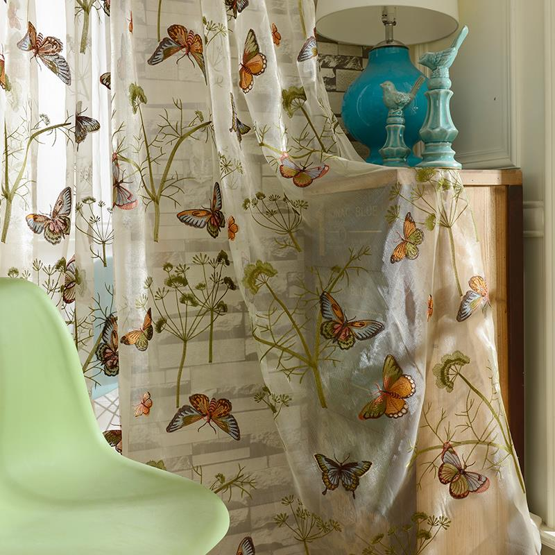 Home Decor Window Luxury Sheer Curtains For The Bedroom Butterfly Embroidery Flower Tulle Free Shipping