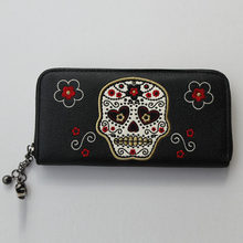 Long Embroidered Skull Head Zipper Wallet Purse Bag Women Handbag PU Leather Wallets Purses Lady Girl Fashion Vintage Bags(China)