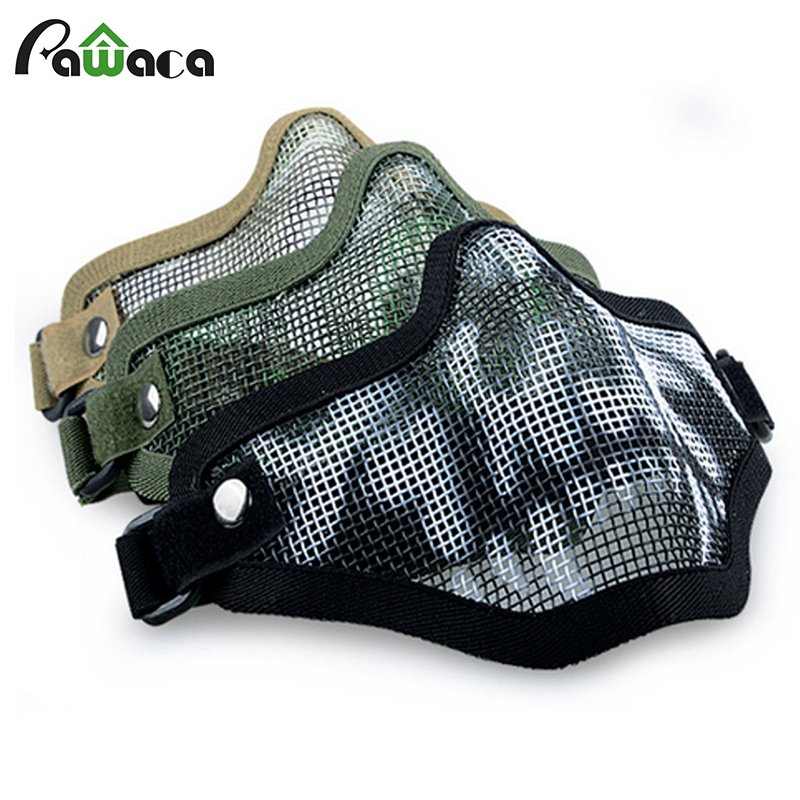 Boutique Tactical Hunting Mental Wire Half Mask Outdoor Bicycle Riding Outdoor Field CS Mesh Airsoft Mask Paintball Resistant