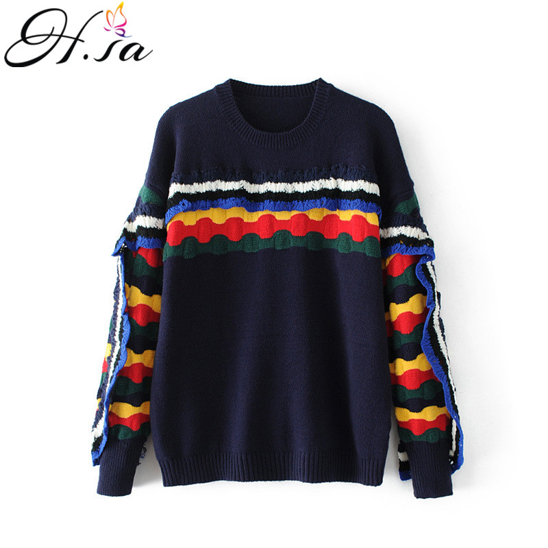 H.SA Women Pullovers 2017 Autumn Winter Fashion Rainbow Ruffles Sleeve Sweater Pull Femme Sweater Mujer Casual Christmas Jumpers