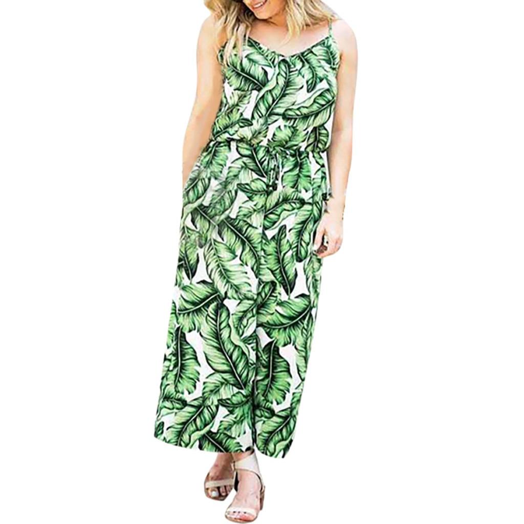 Womail Jumpsuit Women Plus Size Womens Leaf Print Wide Leg Sleeveless Summer Jumpsuit Women 2019