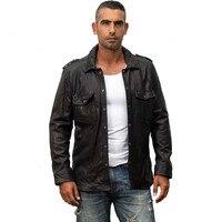 HARLEY DAMSON Black Men Slim Fit Casual Leather Shirt Plus Size 4XL Genuine Thin Sheepskin Russian Spring Fashion Leather Coat