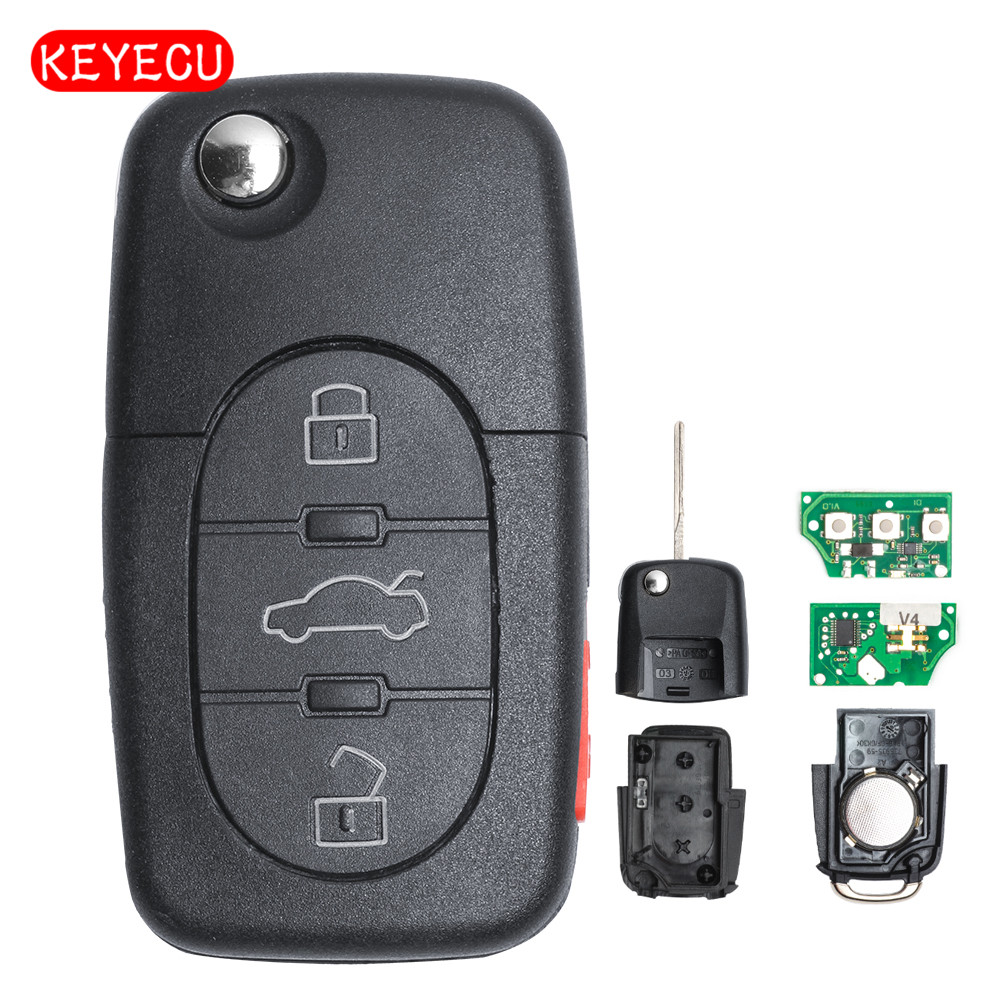 Keyecu 3 1 Button Flip Key Remote Control Fob 315MHz with ID48 Chip for VW Beetle