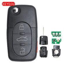 Keyecu 3 + 1 кнопка флип ключевых Дистанционное управление fob 315 мГц с ID48 чип для VW Beetle Cabrio Гольф Jetta passat 1J0 959 753 F