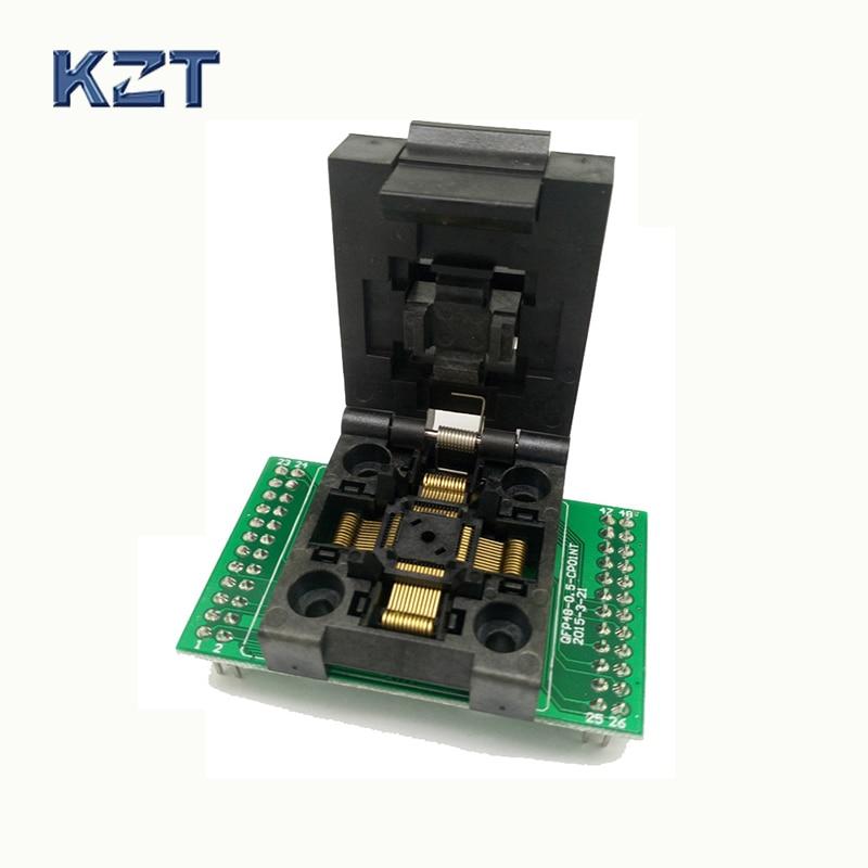 Gratis Verzending QFP48 Dip 48 Clamshell Test Socket Met Enkele PCB Board Pin Pitch 0.5mm Levensduur 15000 Keer ForTQFP48, LQFP48