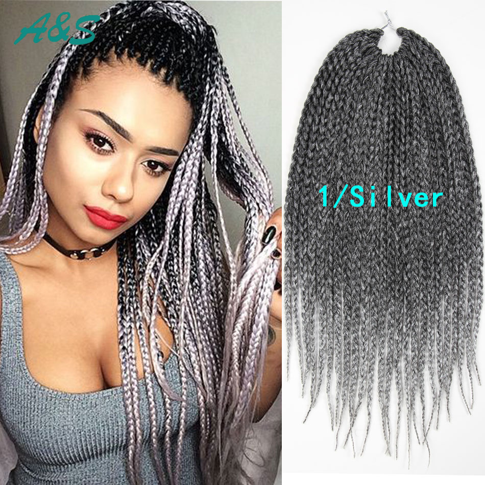 ombre two tone thin box braids hair #1/silver crochet twist
