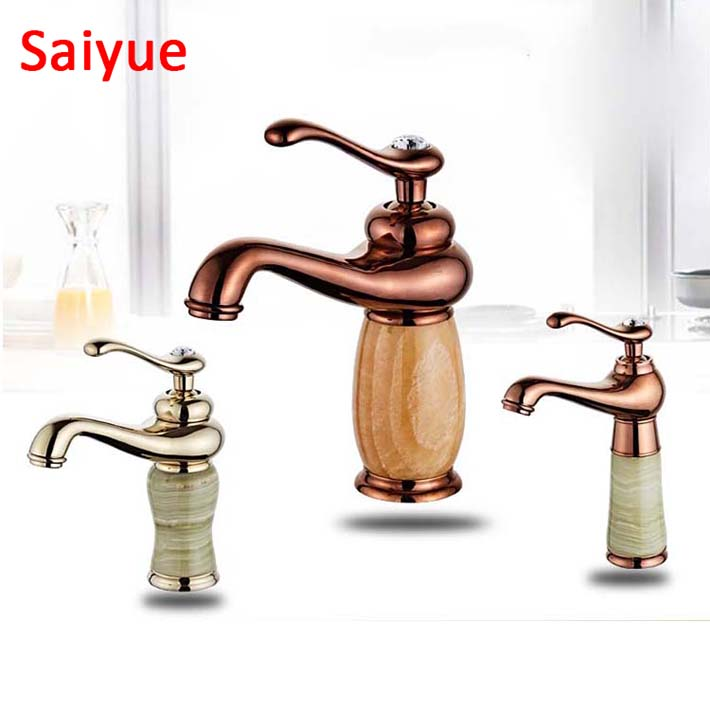 New Gold rose gold black plate Crystal handle Solid Brass Marble Jade stone body Deck Mounted Bathroom basin Faucet mixer tapNew Gold rose gold black plate Crystal handle Solid Brass Marble Jade stone body Deck Mounted Bathroom basin Faucet mixer tap