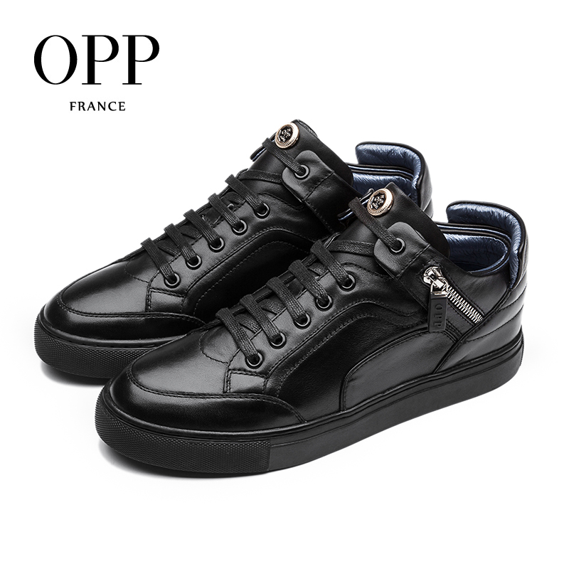 OPP 2017 New Men's Genuine Leather High-top Casual Shoes Full Grain Leather Shoes Black/Blue Fashion Style Lace-Up Round-Toe