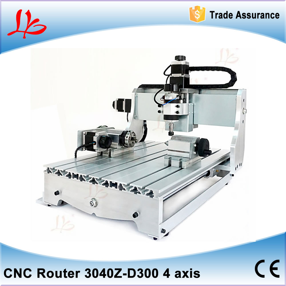 No tax, 3D CNC Engraver 4030Z-D300 4axis CNC Milling Machine CNC 3040 with ball screw russia no tax 1500w 5 axis cnc wood carving machine precision ball screw cnc router 3040 milling machine