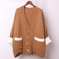 Women Spring Autumn Winter New Thick Cardigans Long Style Thick Thread Knitted Soft Cotton Loose Weave