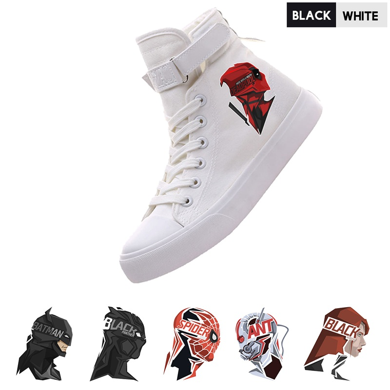 Movie Marvel Superhero Deadpool/Spider-Man/Ant-Man/Black Widow High Top Breathable Canvas Uppers Women Lace-Up A193291