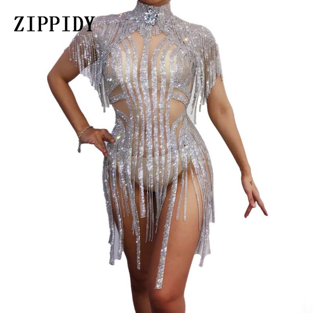 Glisten Silver Rhinestones Tassel Perspective Bodysuit Nightclub Women Dance Sexy Bodysuits Prom Party Show One-piece Stage Wear