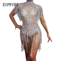 Glisten Silver Rhinestones Tassel Perspective Bodysuit Nightclub Women Dance Sexy Bodysuits Prom Party Show One piece Stage Wear
