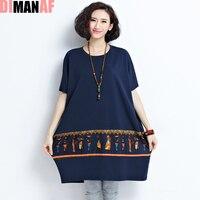 European Summer Large Size T Shirt Women Vintage Patchwork Pattern Print O Neck Female Loose Fashion