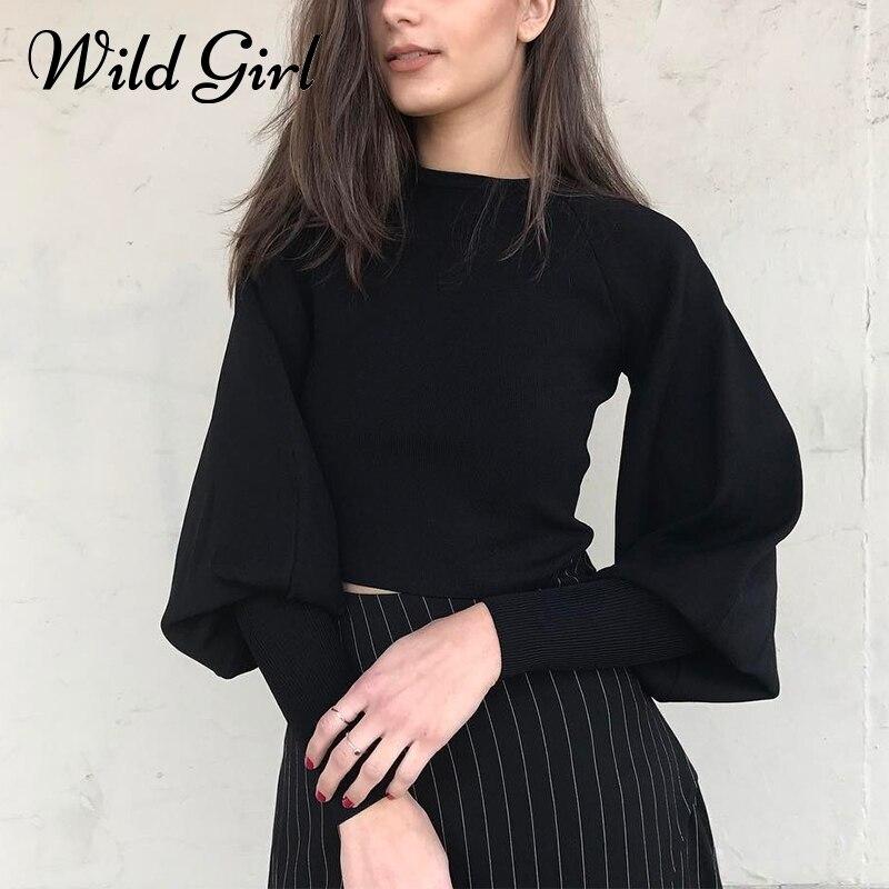 Black knitting sweater women Casual streetwear lantern sleeve pullover sweater female Autumn winter sweater jumper new