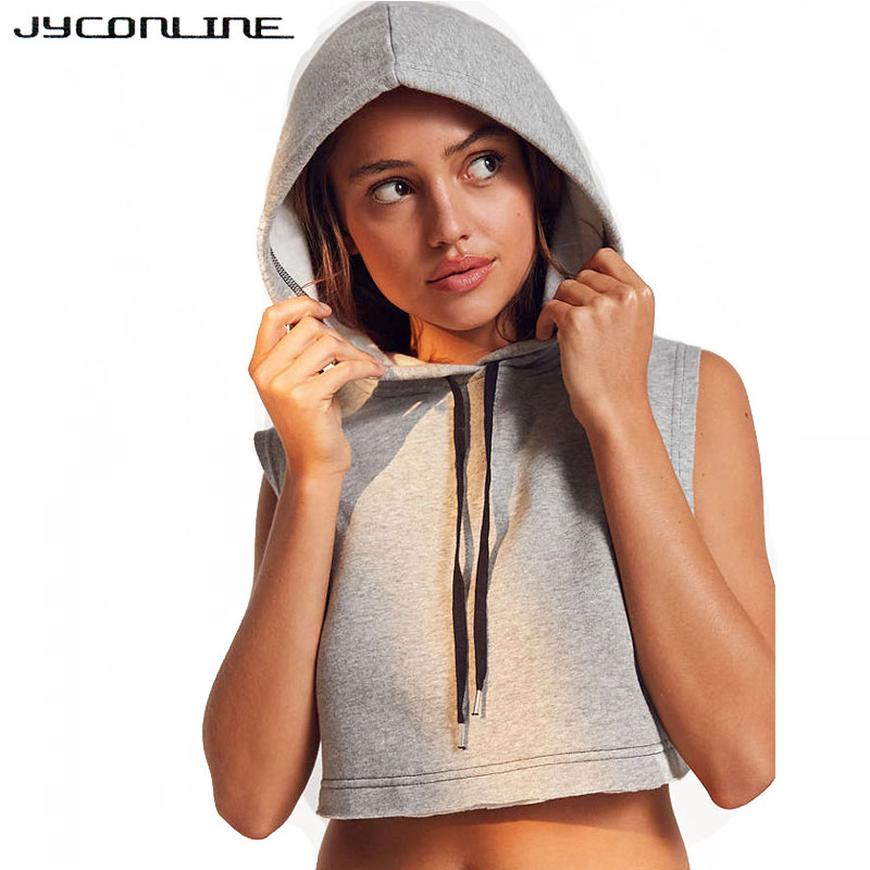 JYConline 2017 Women Hoodies Sweatshirt Casual Harajuku Sleeveless Hoodies Tracksuits Women Pullovers Cropped Hooded Sweatshirts